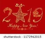 happy new year 2019  vintage... | Shutterstock .eps vector #1172962015