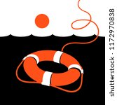 ring lifebuoy and sea. vector... | Shutterstock .eps vector #1172970838