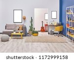 white blue wall concept living... | Shutterstock . vector #1172999158