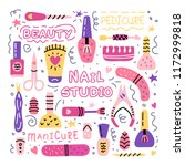 manicure pedicure doodle tools... | Shutterstock .eps vector #1172999818