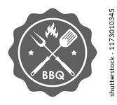 stamp bbq in flat design. sign... | Shutterstock .eps vector #1173010345