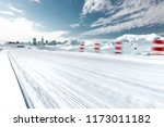 highway covered snow through... | Shutterstock . vector #1173011182