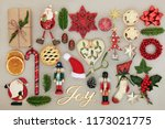 christmas joy sign with retro... | Shutterstock . vector #1173021775