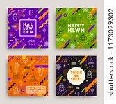 set of halloween poster  banner ... | Shutterstock .eps vector #1173029302