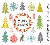 christmas set. trees ... | Shutterstock . vector #1173031252