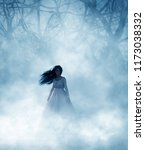 ghost woman in foggy forest 3d... | Shutterstock . vector #1173038332