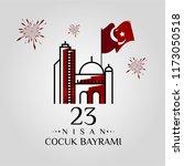 23 nisan cumhuriyet bayrami.... | Shutterstock .eps vector #1173050518