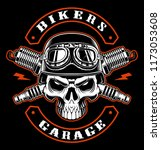 vintage biker patch with skull... | Shutterstock .eps vector #1173053608