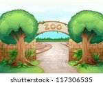 illustration of a zoo in a... | Shutterstock .eps vector #117306535