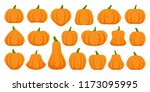 pumpkin flat icons set. sign... | Shutterstock .eps vector #1173095995