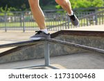young woman jumping on steel... | Shutterstock . vector #1173100468