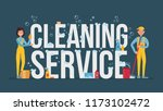 girl and man cleaner in yellow ... | Shutterstock .eps vector #1173102472