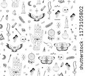 doodle hand drawn seamless... | Shutterstock . vector #1173105802