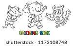 badger  elephant and owl doing... | Shutterstock .eps vector #1173108748