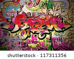 graffiti wall vector urban art | Shutterstock . vector #117311356
