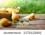 homemade fruit peer brandy in... | Shutterstock . vector #1173122002