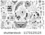 tattoo design set with gothic... | Shutterstock .eps vector #1173125125