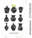 handmade clay pottery workshop. ... | Shutterstock .eps vector #1173130132