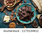 chocolate. dark bitter... | Shutterstock . vector #1173134812