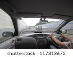 speed drive from car view. | Shutterstock . vector #117313672
