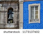 long shot of colored house with ... | Shutterstock . vector #1173137602