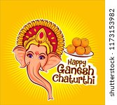 happy ganesh chaturthi. lord... | Shutterstock .eps vector #1173153982