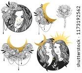 set of vector drawings in boho... | Shutterstock .eps vector #1173192562