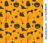 seamless halloween pattern with ... | Shutterstock .eps vector #1173208645