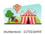 circus welcome. show program.... | Shutterstock .eps vector #1173216445