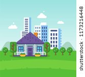 urban landscape  city life eco... | Shutterstock .eps vector #1173216448