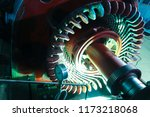 Stator generators of a big electric motor in the coal fired power plant.