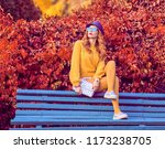 fall fashion. redhead girl... | Shutterstock . vector #1173238705
