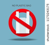 no plastic bag forbidden sign.  | Shutterstock .eps vector #1173243175