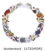 round frame with attributes for ... | Shutterstock .eps vector #1173245392