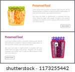 preserved food posters set with ... | Shutterstock .eps vector #1173255442