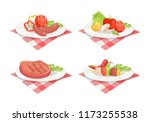 beefsteak and roasted fried... | Shutterstock .eps vector #1173255538