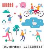 people walking in park among... | Shutterstock .eps vector #1173255565