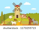 windmill and farm landscape ... | Shutterstock .eps vector #1173255715
