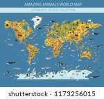 flat world flora and fauna map... | Shutterstock .eps vector #1173256015