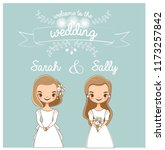 vector of cute lgbt wedding... | Shutterstock .eps vector #1173257842