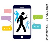walking people with a mobile... | Shutterstock .eps vector #1173275005