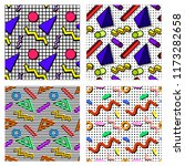 a set of memphis patterns with...   Shutterstock .eps vector #1173282658