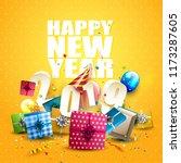 happy new year 2019   flyer... | Shutterstock .eps vector #1173287605