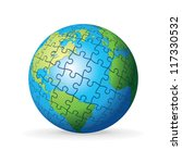 puzzle earth globe. vector...