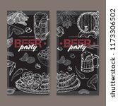 two beer party labels with beer ... | Shutterstock .eps vector #1173306502