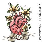 human heart  flowers and ribbon ... | Shutterstock .eps vector #1173310315