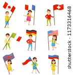 children with national flags of ... | Shutterstock .eps vector #1173316468