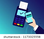 pos terminal confirms the... | Shutterstock .eps vector #1173325558