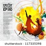 crowd of people. concert... | Shutterstock .eps vector #117335398
