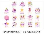 mardi gras logo set original... | Shutterstock .eps vector #1173363145